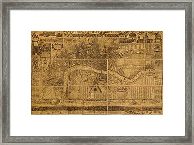 Map Of London England Old Parchment Circa 1905 Framed Print by Design Turnpike