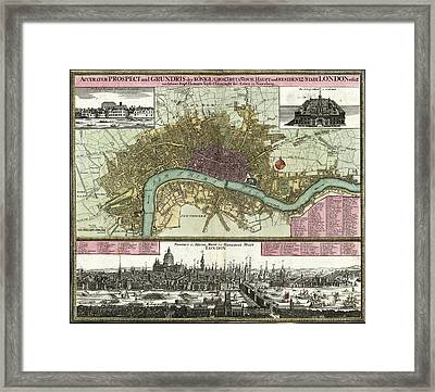Map Of London Framed Print by Library Of Congress, Geography And Map Division