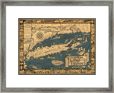 Map Of Long Island Framed Print by Andrew Fare
