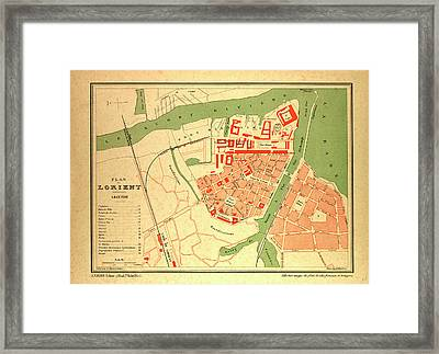 Map Of Lorient France Framed Print by French School