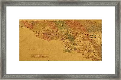Map Of Los Angeles Hand Drawn And Colored Schematic Illustration From 1916 On Worn Parchment Framed Print by Design Turnpike