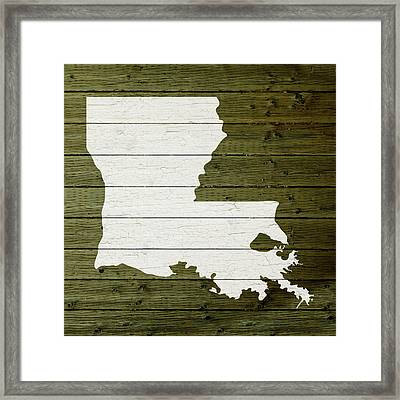 Map Of Louisiana State Outline White Distressed Paint On Reclaimed Wood Planks Framed Print