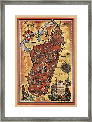 Map Of Madagascar 1952 Framed Print by Andrew Fare