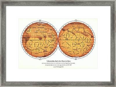 Map Of Mars Framed Print by Detlev Van Ravenswaay