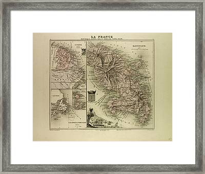 Map Of Martinique French Guiana And Terra Nova 1896 Framed Print by English School