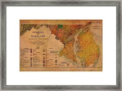 Map Of Maryland Geological 1897 Framed Print by Design Turnpike