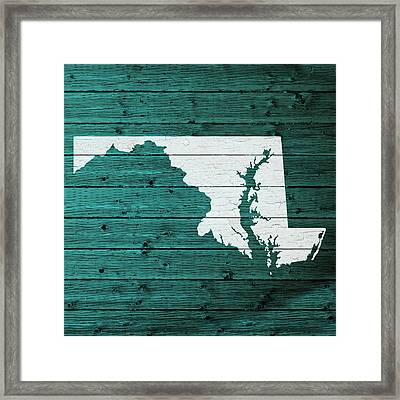 Map Of Maryland State Outline White Distressed Paint On Reclaimed Wood Planks Framed Print by Design Turnpike