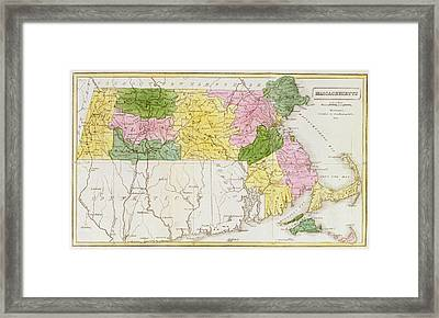 Map Of Massachusetts, From Historical Collections Of Massachusetts, By John Warren Barber, 1839 Framed Print by American School
