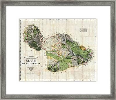 Map Of Maui 1885 Framed Print by Jon Neidert