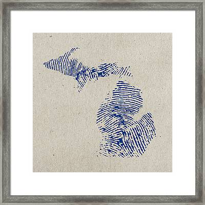 Map Of Michigan Great Lake State Fingerprint Art Framed Print by Design Turnpike