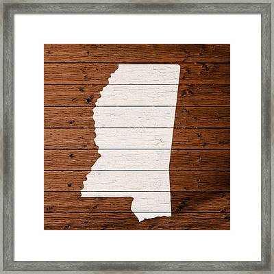 Map Of Mississippi State Outline White Distressed Paint On Reclaimed Wood Planks. Framed Print by Design Turnpike