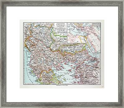 Map Of Montenegro Serbia Macedonia Northern Greece Bulgaria Framed Print by Greek School