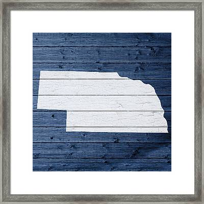 Map Of Nebraska State Outline White Distressed Paint On Reclaimed Wood Planks Framed Print