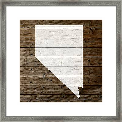 Map Of Nevada State Outline White Distressed Paint On Reclaimed Wood Planks Framed Print
