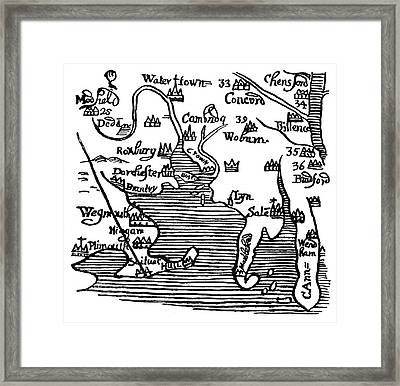 Map Of New England, 1677 Framed Print