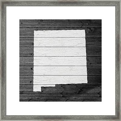 Map Of New Mexico State Outline White Distressed Paint On Reclaimed Wood Planks Framed Print by Design Turnpike
