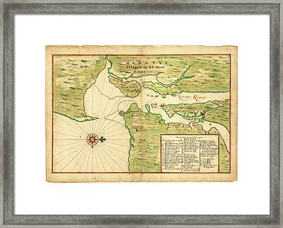 Map Of New York Bay Framed Print by Library Of Congress, Geography And Map Division