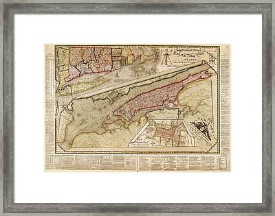 Map Of New York City Framed Print by Library Of Congress, Geography And Map Division