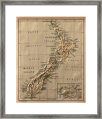 Map Of New Zealand 1880 Framed Print