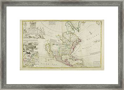 Map Of North America Dated 1715 Framed Print