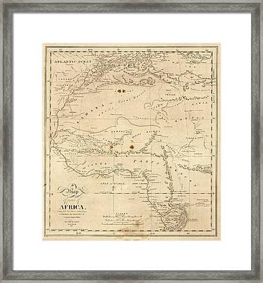 Map Of North-western Africa Framed Print by Library Of Congress, Geography And Map Division