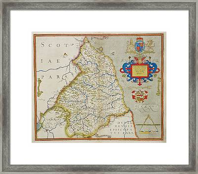 Map Of Northumbria Framed Print