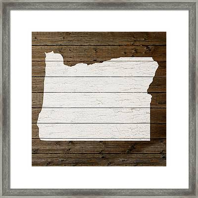 Map Of Oregon State Outline White Distressed Paint On Reclaimed Wood Planks Framed Print by Design Turnpike