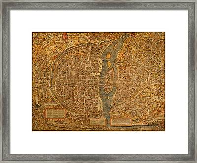 Map Of Paris France Circa 1550 On Worn Canvas Framed Print by Design Turnpike