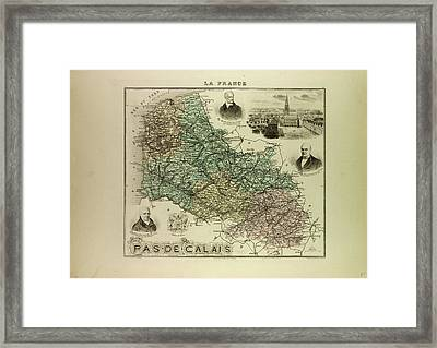 Map Of Pas De Calais 1896 France Framed Print by French School