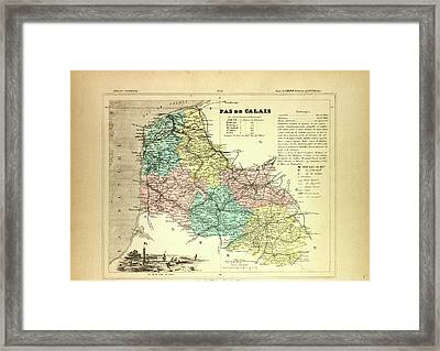 Map Of Pas De Calais France Framed Print by French School