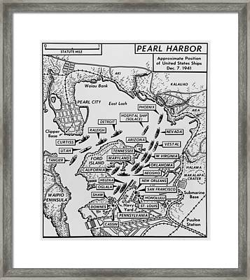 Map Of Pearl Harbor With Location Framed Print