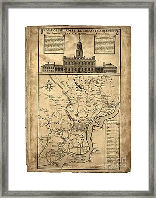 map of Philadelphia and parts adjacent - 1752 Framed Print by Pablo Romero