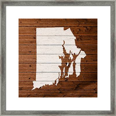 Map Of Rhode Island State Outline White Distressed Paint On Reclaimed Wood Planks. Framed Print by Design Turnpike