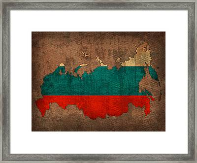 Map Of Russia With Flag Art On Distressed Worn Canvas Framed Print by Design Turnpike