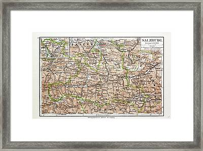 Map Of Salzburg Austria 1899 Framed Print by Austrian School