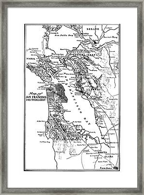 Map Of San Francisco And Thereabout Circa 1905 Framed Print by California Views Mr Pat Hathaway Archives