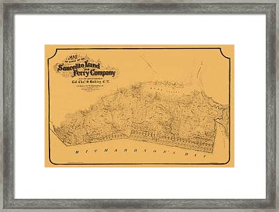 Map Of Sausalito 1868 Framed Print by Andrew Fare