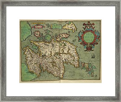 Map Of Scotland Drawn In 1601 Framed Print