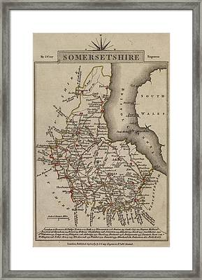 Map Of Somersetshire Framed Print