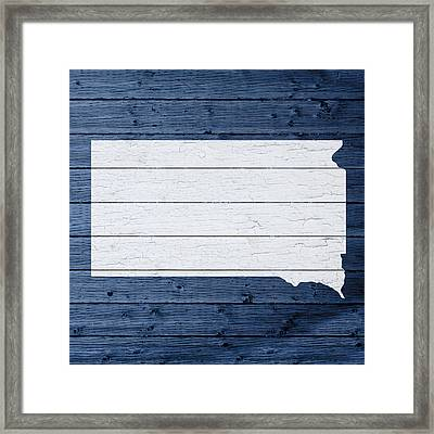 Map Of South Dakota State Outline White Distressed Paint On Reclaimed Wood Planks Framed Print by Design Turnpike