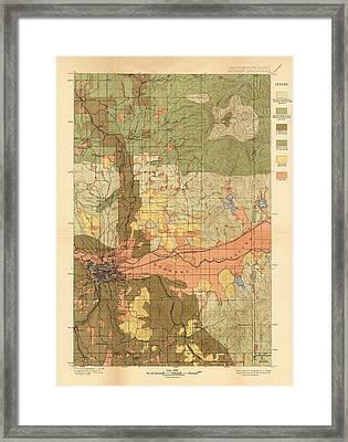Map Of Spokane 1898 Framed Print