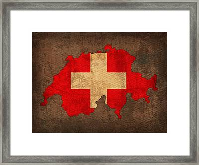 Map Of Switzerland With Flag Art On Distressed Worn Canvas Framed Print