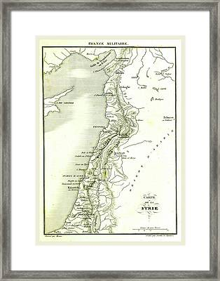 Map Of Syria, Syrian Arab Republic, Is A Country In Western Framed Print by Litz Collection