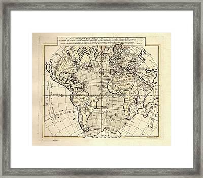 Map Of The Atlantic Ocean Framed Print