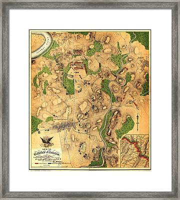 Map Of The Battlefield Of Antietam 1862 Framed Print by MotionAge Designs