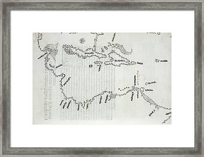 Map Of The Caribbean Framed Print