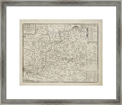 Map Of The County Of Surrey Framed Print by British Library