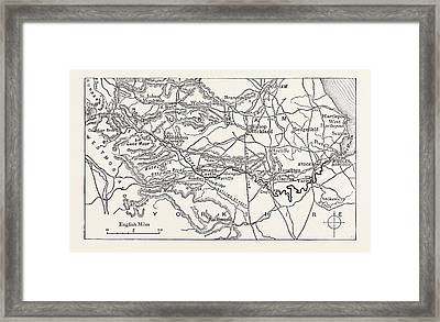 Map Of The Course Of The Tees. The River Tees Framed Print by English School