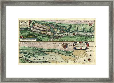 Map Of The Elbe River Framed Print