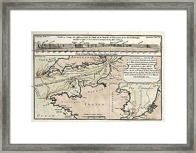 Map Of The English Channel Framed Print by Library Of Congress, Geography And Map Division